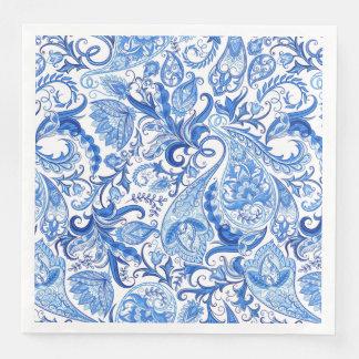 Gorgeous Blue White Floral Paisley Pattern Disposable Serviette