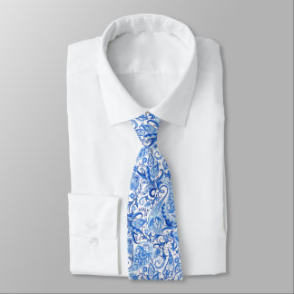 Gorgeous Blue White Floral Paisley Pattern Tie