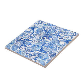 Gorgeous Blue White Floral Paisley Pattern Tile