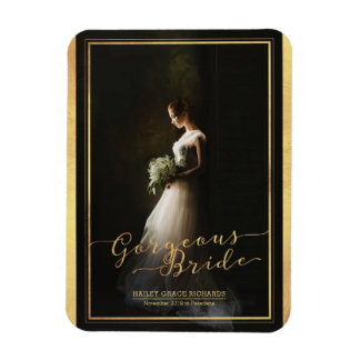 Gorgeous Bride Elegant Typography Photo Template Rectangular Photo Magnet