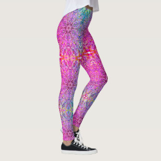 Gorgeous Bright Pink Mandala Yoga Leggings