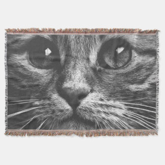 Gorgeous Cat Face Close Up Throw Blanket