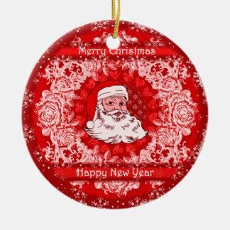 Gorgeous Christmas Santa Hanging Tree Decoration Round Ceramic Decoration