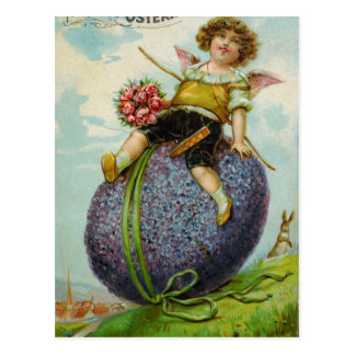 Gorgeous Cupid on Easter Egg Postcard