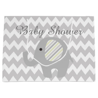 Gorgeous Custom Baby Shower Neutral Elephant Large Gift Bag