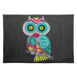 Gorgeous Custom Owl on Black Leather Gift Placemats