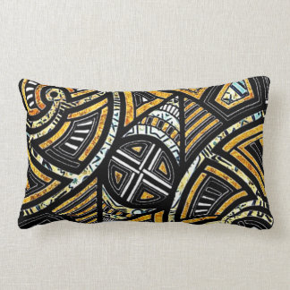 Gorgeous designer gold black tribal lumbar pillow