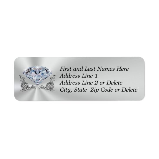 Gorgeous Diamond Address Return Labels YOUR TEXT