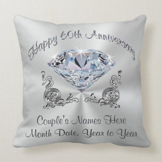 Gorgeous Diamond Anniversary Pillow, PERSONALIZED Cushion