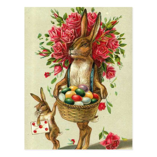 Gorgeous Easter Bunny Roses & Baby Bunny Postcard