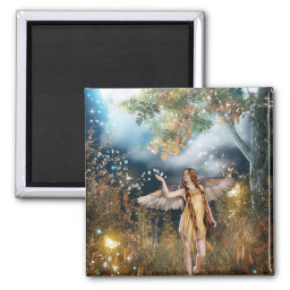 Gorgeous fairy taking a stroll in the moonlight. square magnet