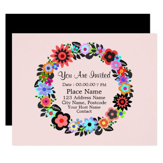 """Gorgeous Floral Wreath Style"" Invitation Card."