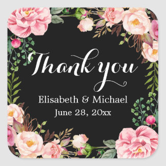 Gorgeous Floral Wreath Wrap Thank You Square Sticker