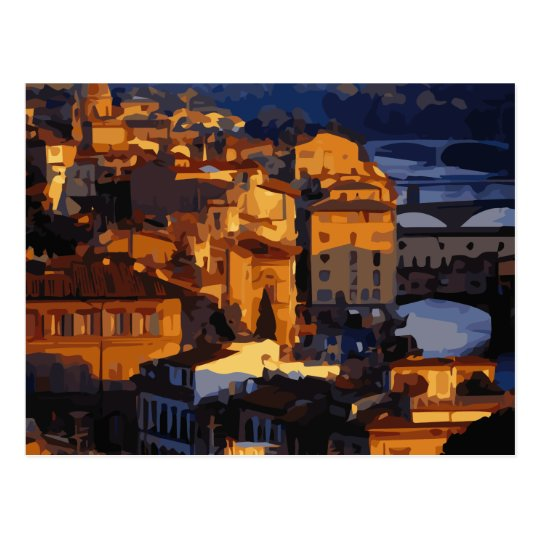 Gorgeous Florence Italy Sunset Scene Postcard