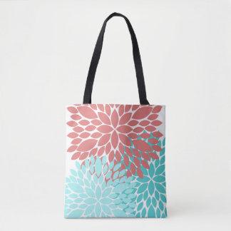 Gorgeous Flower Print Tote Bag Coral Teal Dahlias