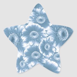gorgeous flowers,damask,blue star sticker