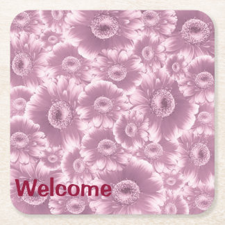 gorgeous flowers, damask,softpink.jpg square paper coaster