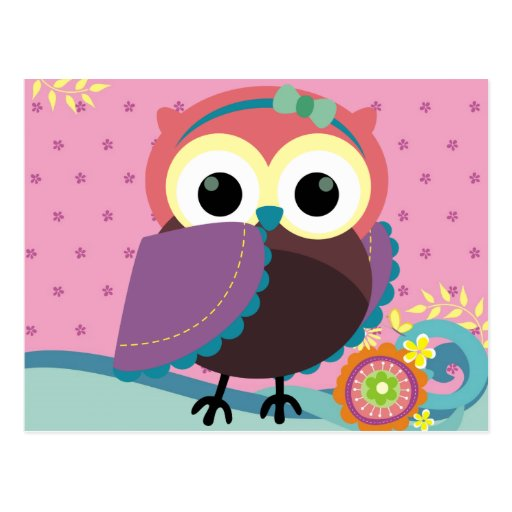 Gorgeous Folk Art Owl with Flowers Postcard