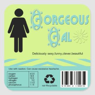 Gorgeous gal square sticker