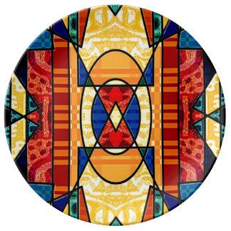 Gorgeous geometric colourful porcelain plate