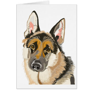 Gorgeous German Shepherd, Alsation Dog Drawing Card