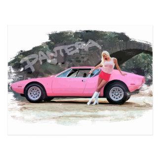 Gorgeous Girl with De Tomaso Pantera GTS Postcard