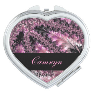 Gorgeous Girly Feminine Pink Feather Fractal Art Makeup Mirrors