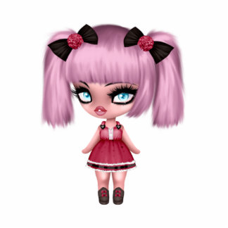 Gorgeous Girly Goth Doll with Pink Hair Photo Sculpture