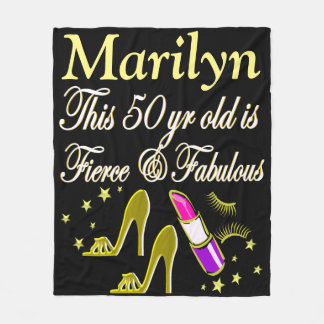 GORGEOUS GOLD 50TH BIRTHDAY PERSONALIZED BLANKET