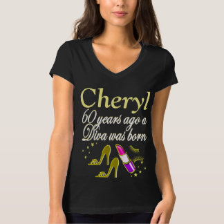 GORGEOUS GOLD 60TH BIRTHDAY DIVA CUSTOM TSHIRT