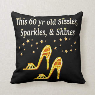 GORGEOUS GOLD 60TH BIRTHDAY THROW PILLOW