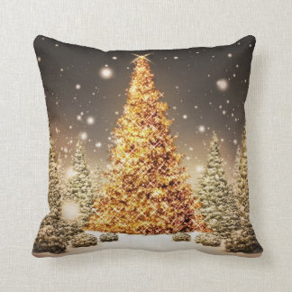 Gorgeous Gold Christmas Tree Cushion