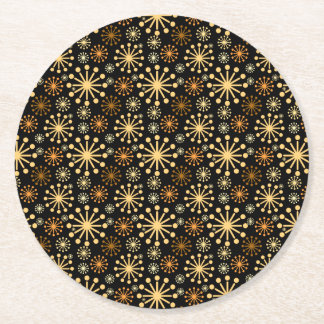 Gorgeous Golden Silver Snowflakes Pattern Festive Round Paper Coaster