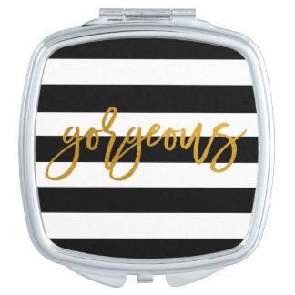Gorgeous | Golden | Stripe Chic Mirror Travel Mirror