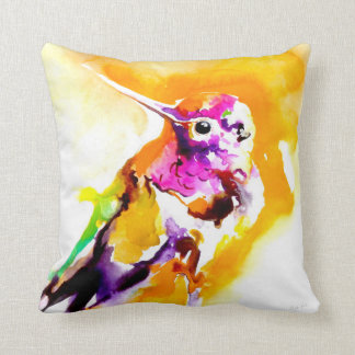 """Gorgeous Gorget"" Hummingbird Print Throw Pillow"