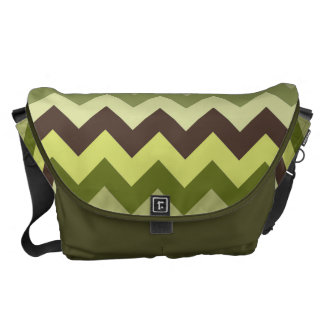 Gorgeous Green and Brown Chevron Pattern Commuter Bags