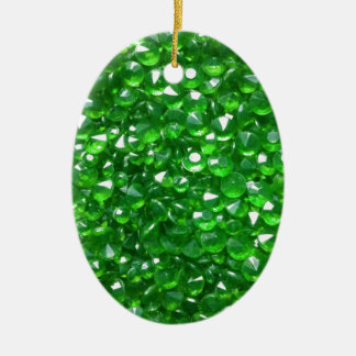 Gorgeous Green Crystals Ceramic Oval Ornament