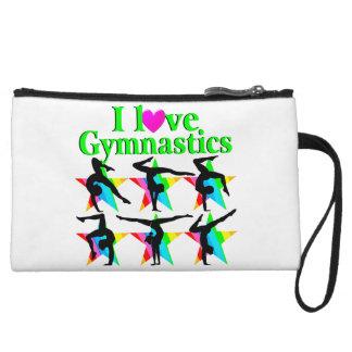 GORGEOUS GREEN I LOVE GYMNASTICS DESIGN WRISTLET CLUTCH