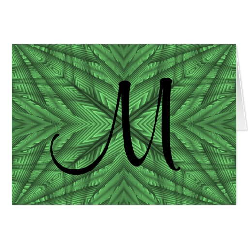 Gorgeous green kaleidoscope monogram greeting card