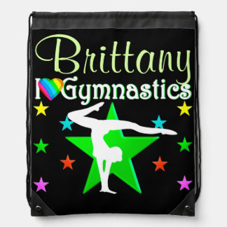 GORGEOUS GREEN PERSONALIZED GYMNASTICS NAP SACK DRAWSTRING BACKPACK