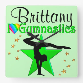 GORGEOUS GREEN PERSONALIZED GYMNASTICS PILLOW CLOCK