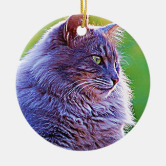 Gorgeous Grey Cat Round Ceramic Decoration