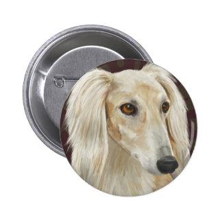 Gorgeous Light Fur Saluki Dog on Brown Background 6 Cm Round Badge