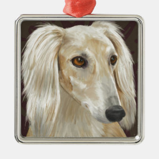 Gorgeous Light Fur Saluki Dog on Brown Background Christmas Ornament