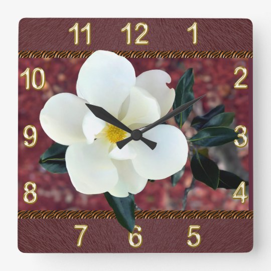 Gorgeous Magnolia Clock, Burgundy or YOUR COLORS Square