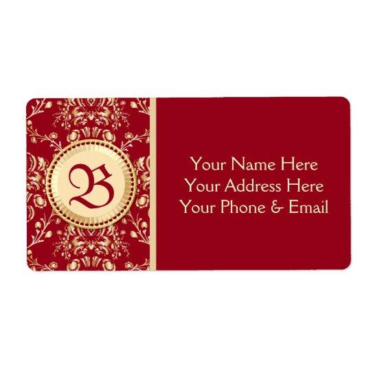 Gorgeous Mediaeval Gold Damask Carmine Red Shipping Label