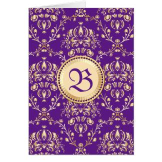 Gorgeous Medieval Damask Monogrammed Gold Purple Greeting Card