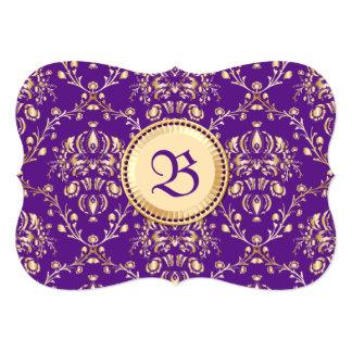 "Gorgeous Medieval Damask Monogrammed Gold Purple 5"" X 7"" Invitation Card"