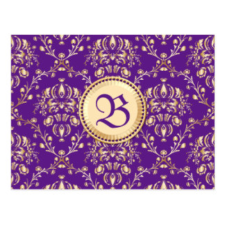 Gorgeous Medieval Damask Monogrammed Gold Purple Postcard