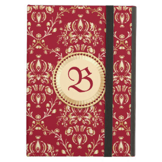 Gorgeous Medieval Gold Damask Carmine Red Monogram Cover For iPad Air